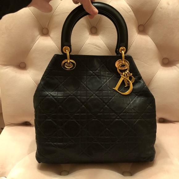 6170ccadfa97 Dior Handbags - Auth Christian Dior Black Soft Lady Dior Tote
